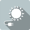 Solar and PV icon depicted by a white sun with a plug on a grey square