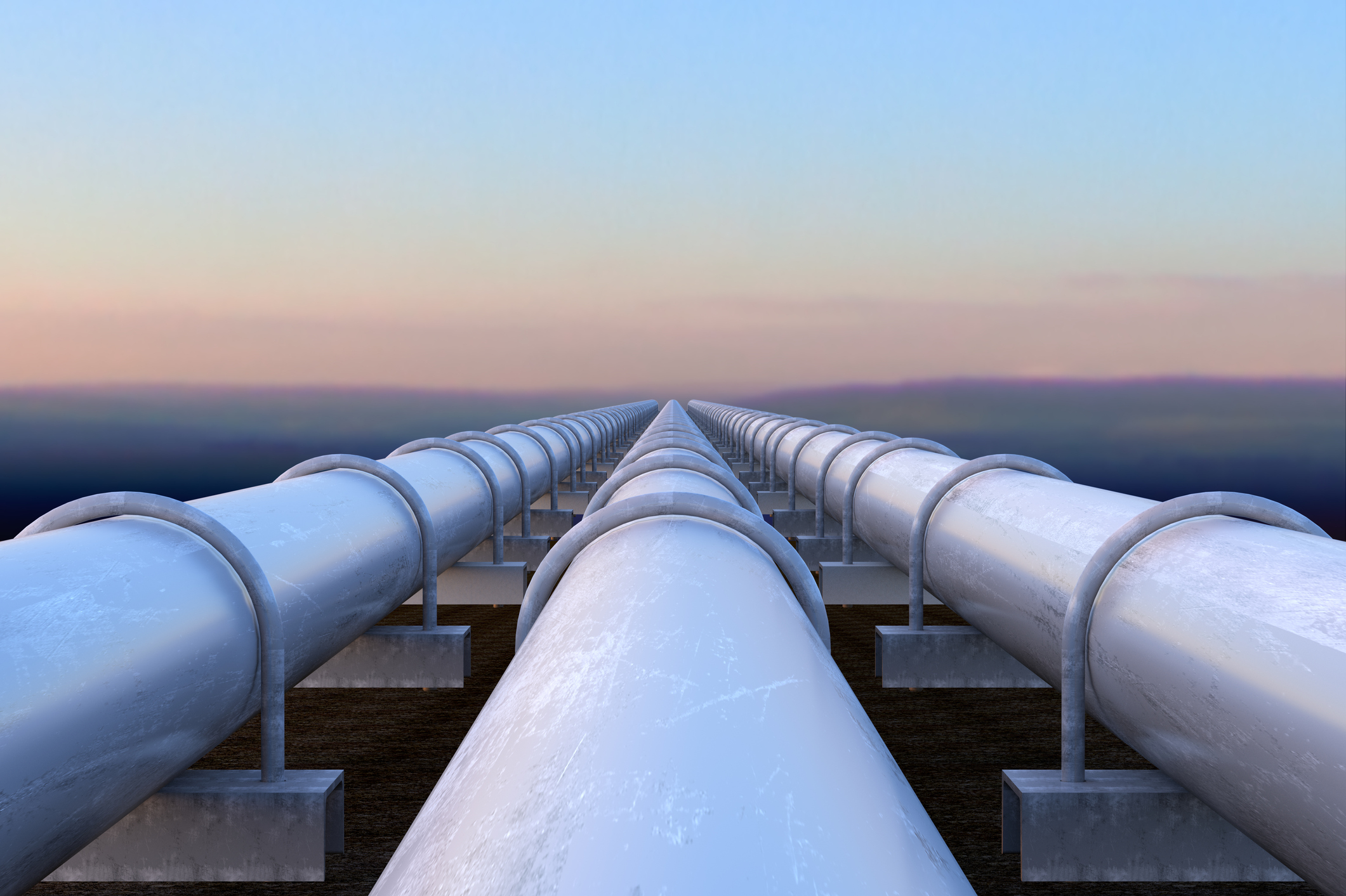 White pipelines at sunrise