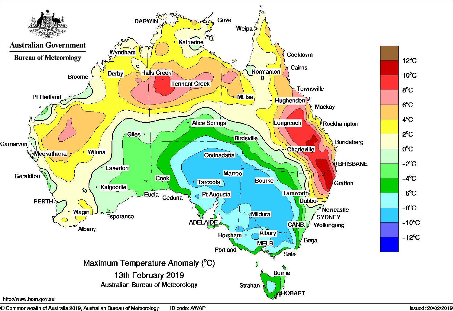average temperature map of Australia