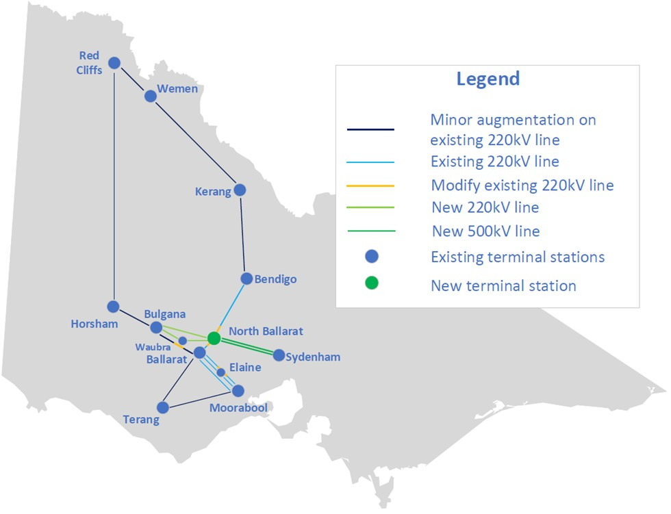 Map of transmission lines in Western Victoria