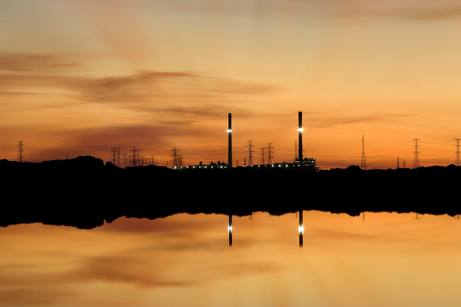Torrens Island Power Station South Australia at Sunset