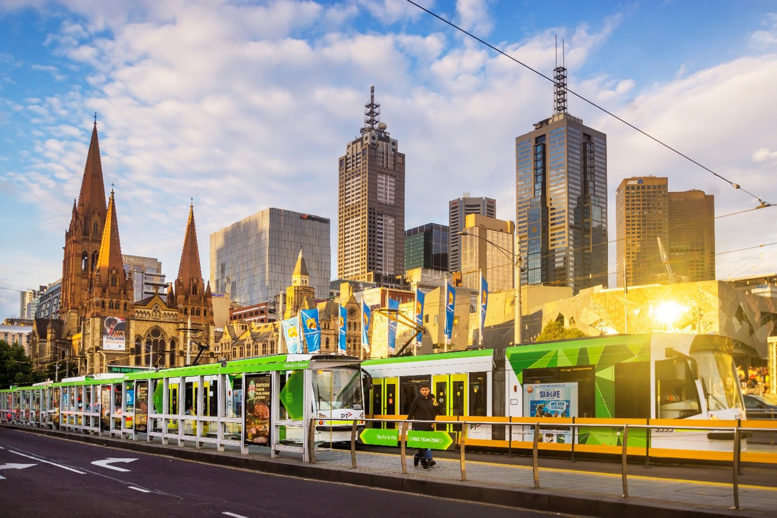 Melbourne city with trams
