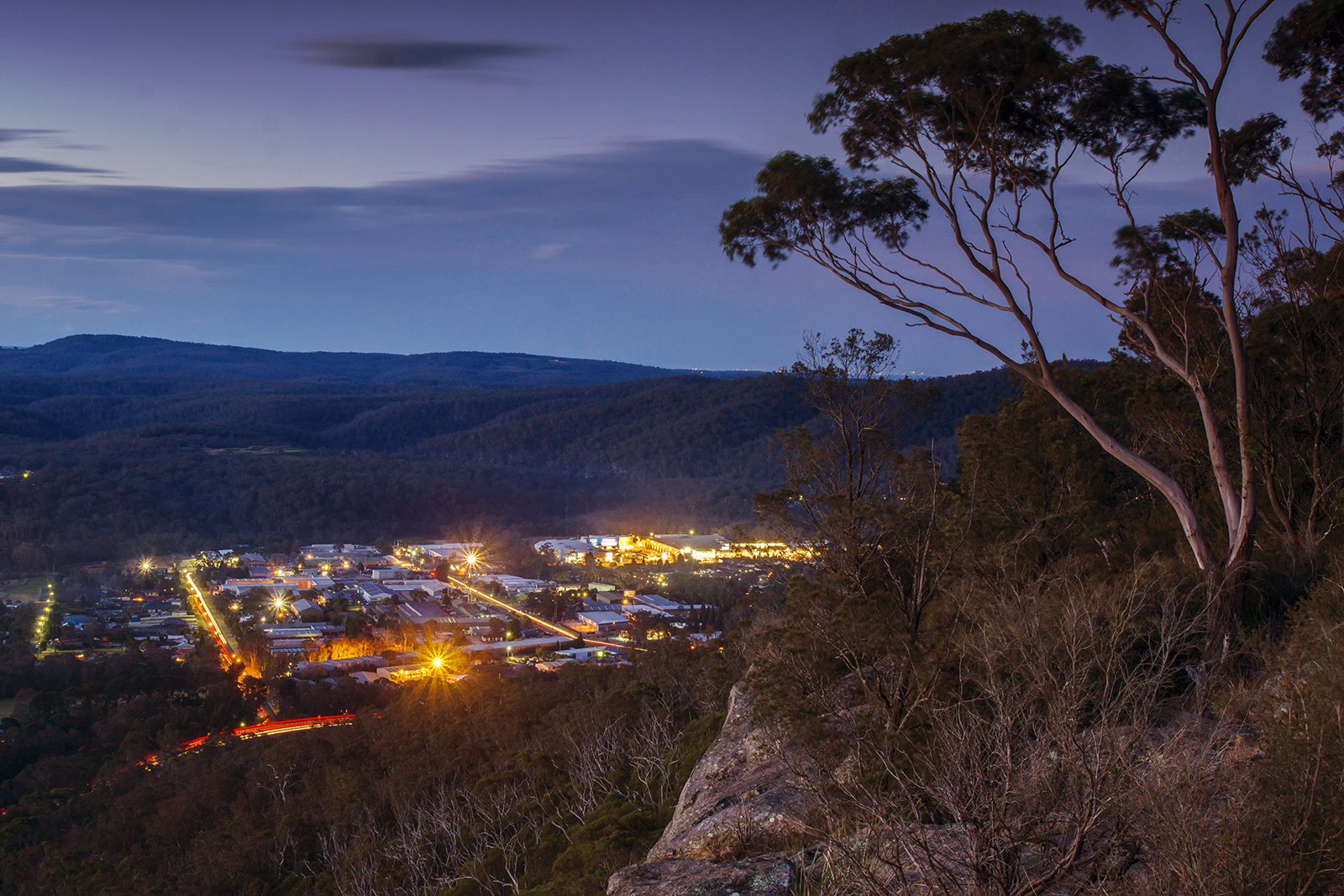 Mittagong, Southern Highlands, NSW, from the Jellore Lookout at dusk.