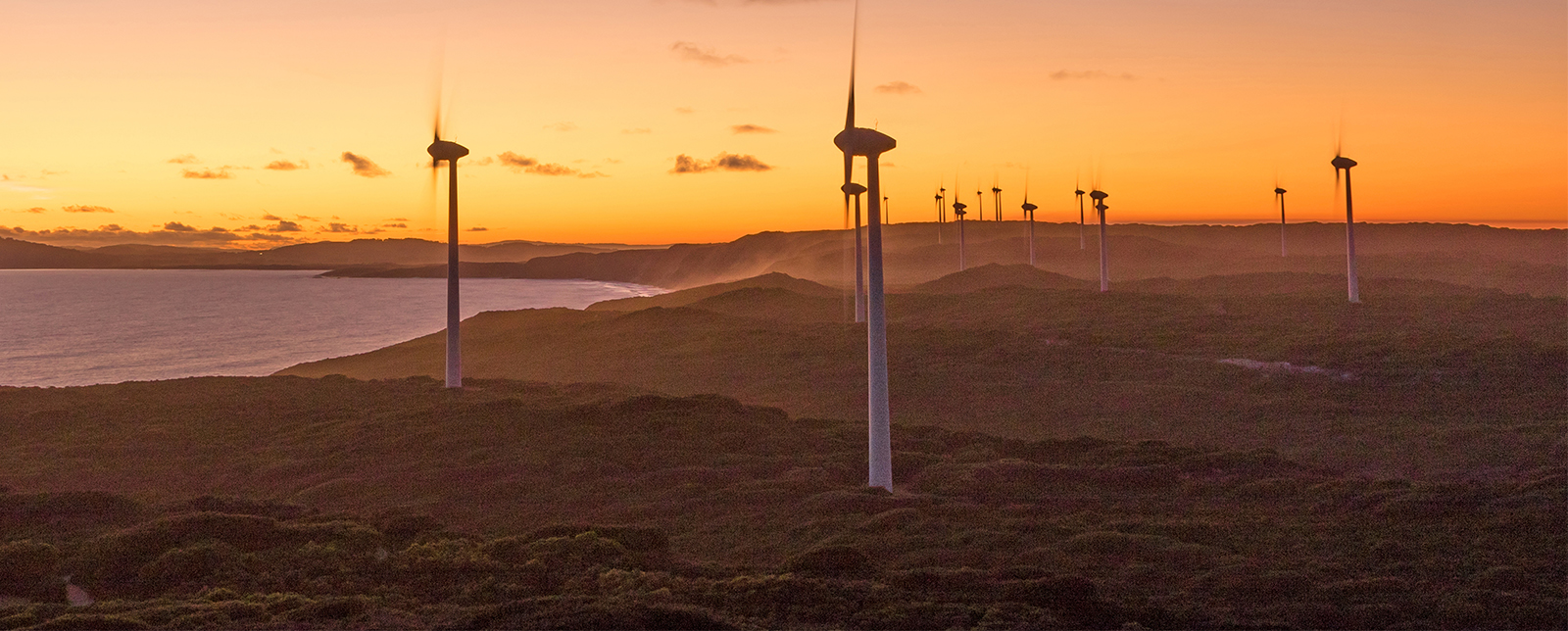 Sunset at Albany Wind Farm, near the town of the same name in Western Australia.