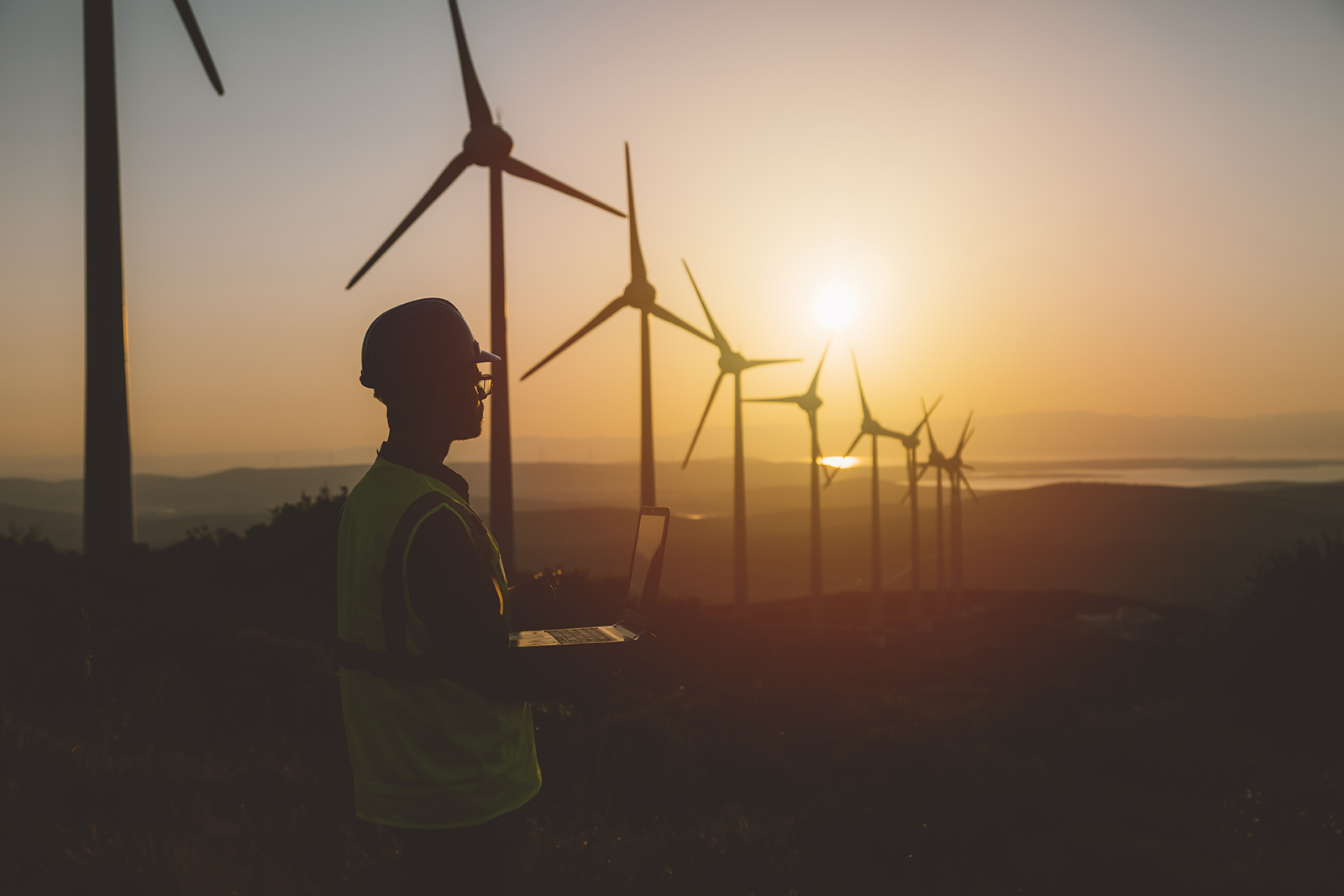 Engineer with laptop against back drop of wind turbines and sunset