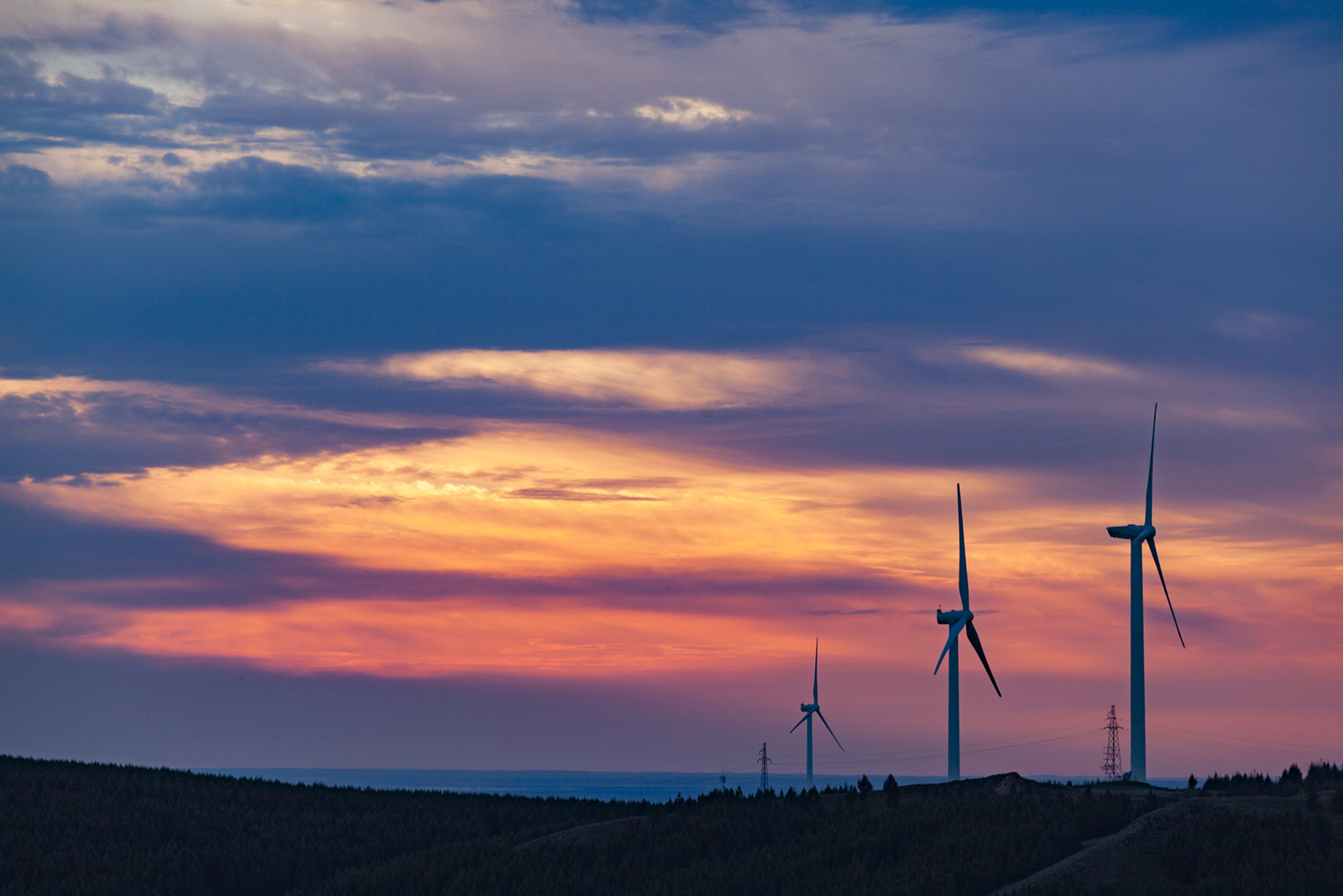 Windfarms at sunset in Queensland