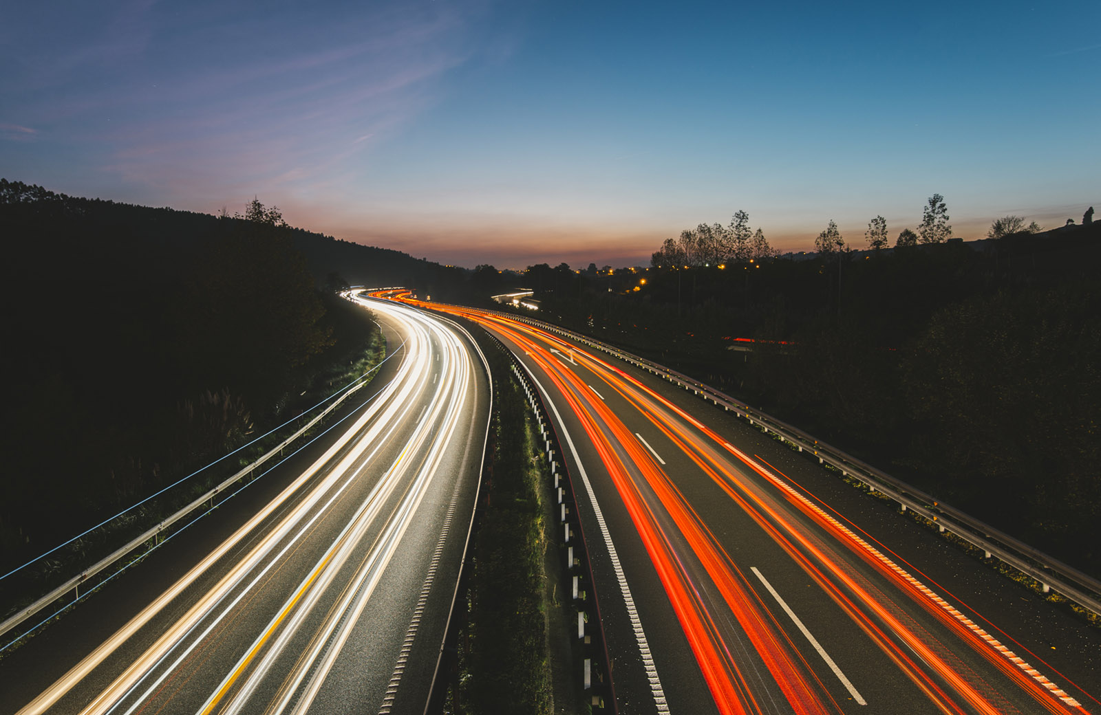 Abstract image of a highway at night