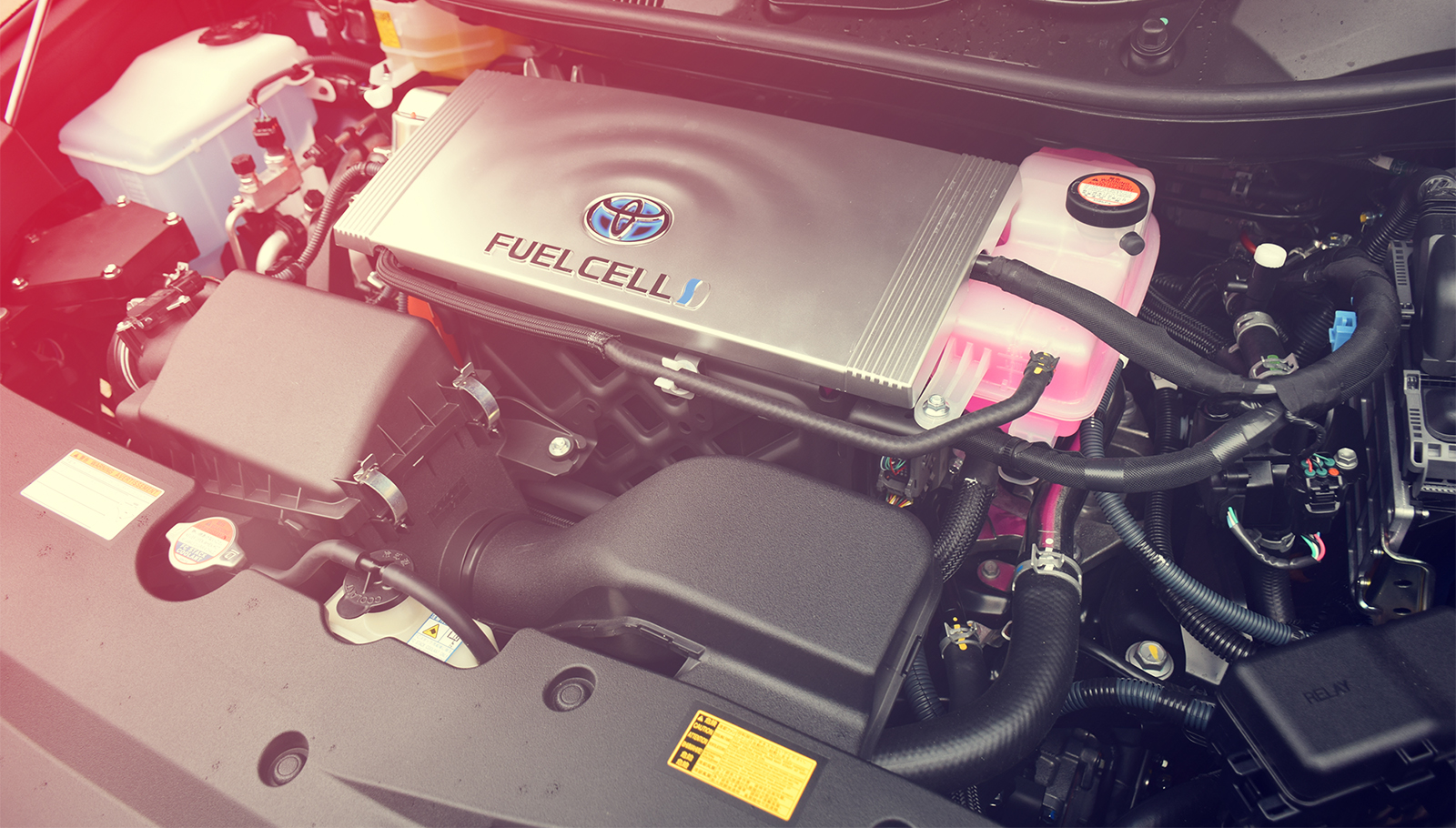 Engine inside a Toyota Mirai - first mass-produced fuel cell car in the world