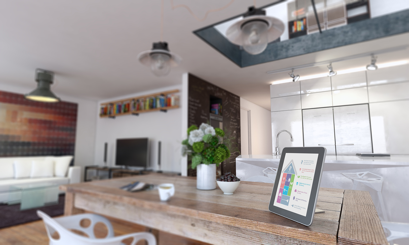 Kitchen area with wooden table featuring a smart home control tablet.